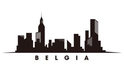 Fototapete - Belgium skyline and landmarks silhouette vector