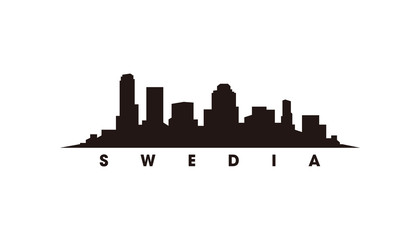 Wall Mural - ‎Stockholm skyline and landmarks silhouette vector