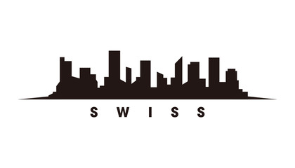 Wall Mural - Bern Swiss skyline and landmarks silhouette vector