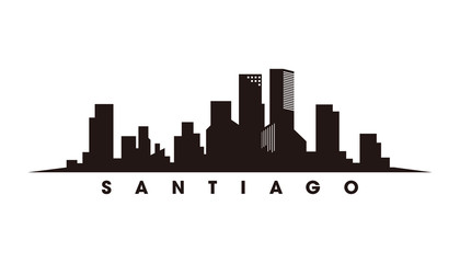Wall Mural - Santiago skyline and landmarks silhouette vector
