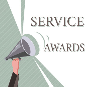 Writing note showing Service Awards. Business photo showcasing Recognizing an employee for his or her longevity or tenure.
