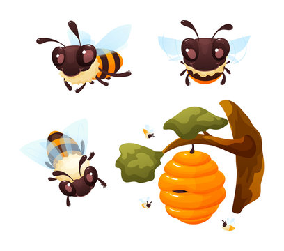 Cartoon cute bees character set vector illustration isolated