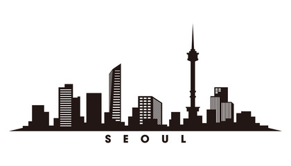 Wall Mural - Seoul skyline and landmarks silhouette vector