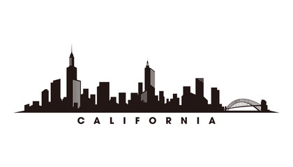 Fotomurales - California skyline and landmarks, silhouette vector