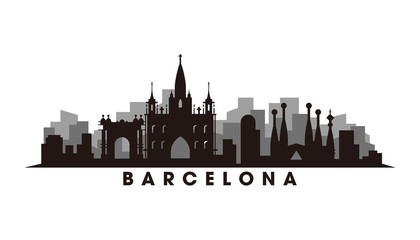 Wall Mural - Barcelona skyline and landmarks silhouette vector