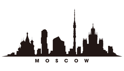 Wall Mural - Moscow skyline and landmarks silhouette vector