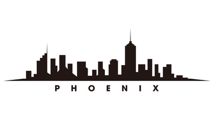 Wall Mural - Phoenix skyline and landmarks silhouette vector