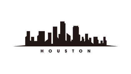 Houston skyline and landmarks silhouette vector