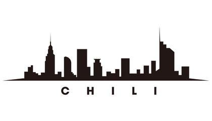 Wall Mural - Santiago Chile skyline and landmarks silhouette vector