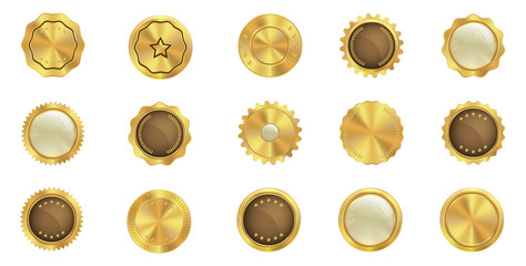 Set of gold badge icons