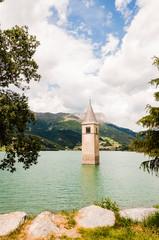 Reschen, Turm, Reschensee, Seeufer, Reschenpass, Passstrasse, Vinschgau, Alpen, Südtirol, Sommer, Italien