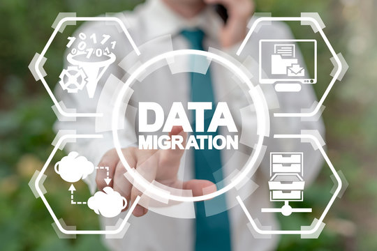 Data Network Migration Cloud Connection Digital Web Technology. Information Transmission.