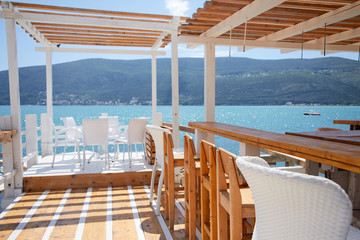 restaurant terrace near blue sea