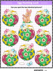 Easter holiday egg hunt themed find the two identical images visual puzzle or picture riddle with painted eggs and cute little bunny. Answer included.