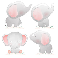 Set of cute cartoon baby elephants.