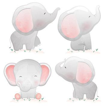 Set of cute cartoon baby elephants.