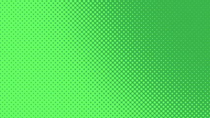 Green pop art background with dots design, abstract vector illustration in retro comics style