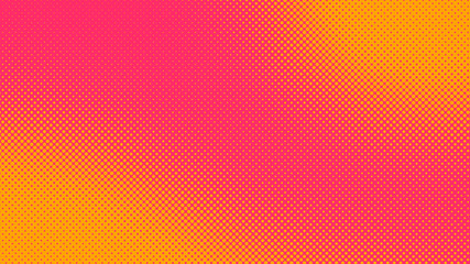 Orange and magenta pop art background in retro comic style with halftone dots, vector illustration of backdrop with isolated dots
