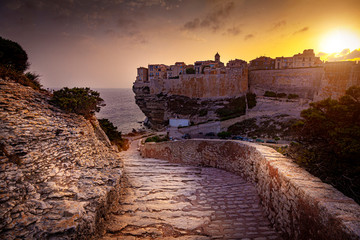 In de dag Mediterraans Europa city ​​of Bastia seen at sunset, famous ancient village in Corsica.