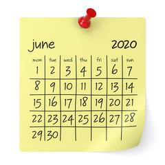 June 2020 Calendar. Isolated on White Background. 3D Illustration