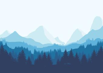 Blue flat landscape Fototapete