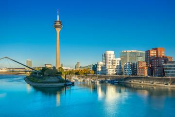 "Medienhafen (Media Harbour) with ""Rheinturm"" TV tower in Düsseldorf"