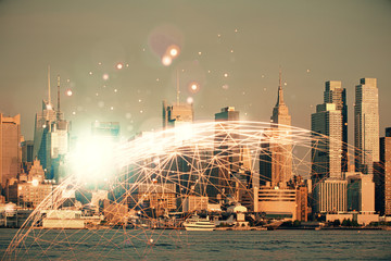 Double exposure of social network theme drawing and cityscape background. Concept of people connecton.