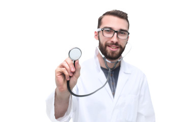 in full growth. General practitioner showing his stethoscope
