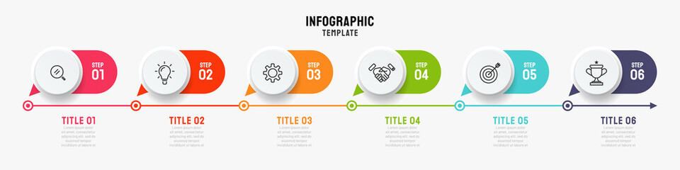 Timeline infographics template. Business concept with 6 steps, options and marketing icons. Can be used or workflow layout, info chart, process diagram. Vector illustration. Fotomurales
