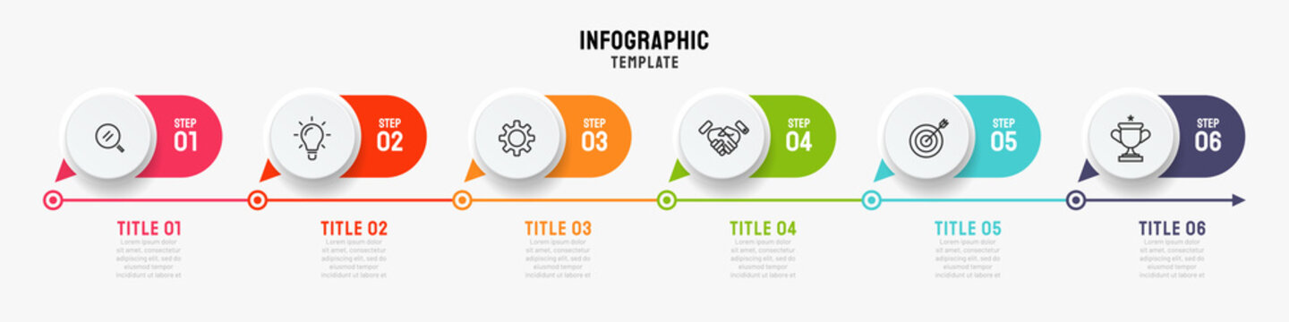 Timeline infographics template. Business concept with 6 steps, options and marketing icons. Can be used or workflow layout, info chart, process diagram. Vector illustration.