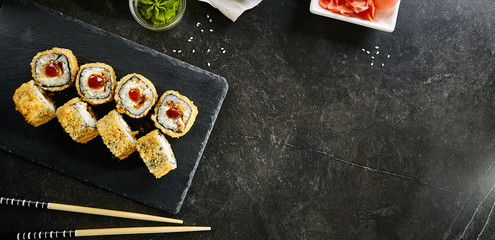 Deep Fried Sushi Rolls with Salmon and Philadelphia Cream Cheese