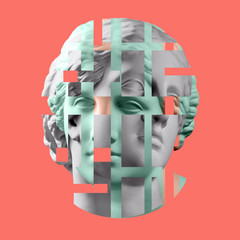 Door stickers Pop Art Modern conceptual art poster with ancient statue of bust of Venus. Collage of contemporary art.