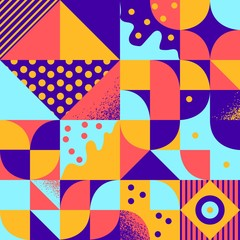 Vintage retro bauhaus style vector seamles pattern