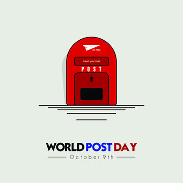 World Post Day with post box (mail box) icon design