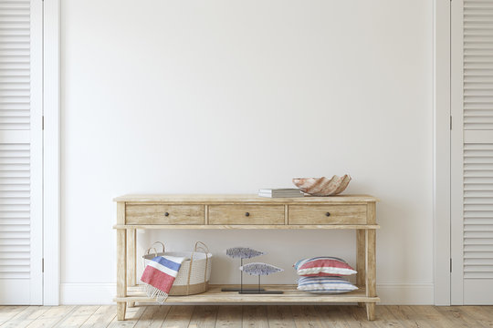 Console table near empty white wall. 3d render.