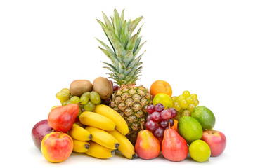 Wall Mural - Delicious fresh bright fruits isolated on white