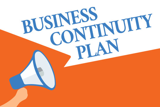 Writing note showing Business Continuity Plan. Business photo showcasing creating systems prevention deal potential threats Megaphone loudspeaker speech bubbles important message speaking loud
