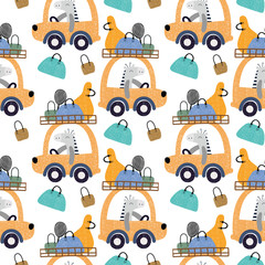 Cute animals driving a car with bags seamless pattern background. Design for fabric, wrapping, textile, wallpaper, apparel.