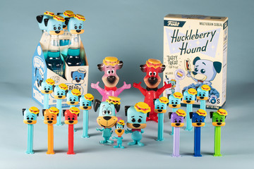 General view of miscellaneous Funko products including PEZ dispensers, POPs and Hikari featuring Hanna Barbera cartoon character Huckleberry Hound in Everett, Washington on July 12, 2019