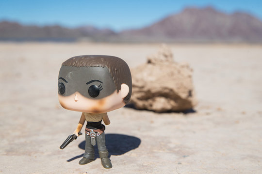 General view of Mad Max character Imperator Furiosa Funko Pop! in a Nevada Desert on March 4, 2018