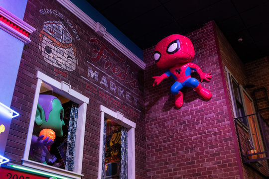 General view of Spiderman on the wall of Funko Headquarters in Everett, Washington on February 2, 2019