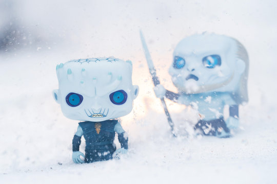 General view of Funko POPs featuring Game of Thrones characters the Night King and White Walker in Everett, Washington on February 10, 2019