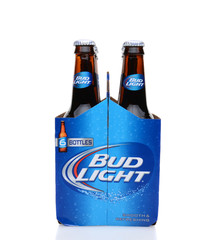 IRVINE, CA - MAY 25, 2014: A 6 pack of Bud Light beer, end view. From Anheuser-Busch InBev, Bud Light is the number selling one domestic beer in the United States.