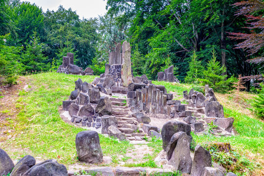 Richterstuhl basalt stone azalea and rhododendron park in Kromlau