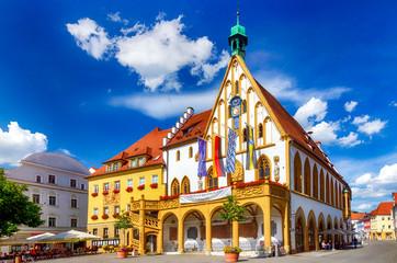 Gotisches Altes Rathaus von Amberg in der Oberpfalz, Bayern