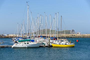 Yachts moored in Howth Marina County Dublin Ireland