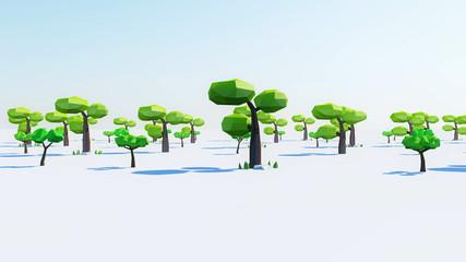 Fotobehang Khaki Cartoon Tree 3d Render