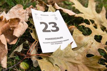 Fototapeta 23 wrzesień. Początek kalendarzowej jesieni. Kalendarz. obraz