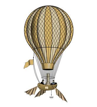 Vintage hot air balloon or aerostat, vector illustration.