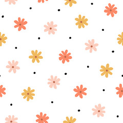 Seamless pattern with simple little flowers in pastel color. Floral repeatable background with chamomile. Cute childish print. Vector illustration in Scandinavian decorative style.